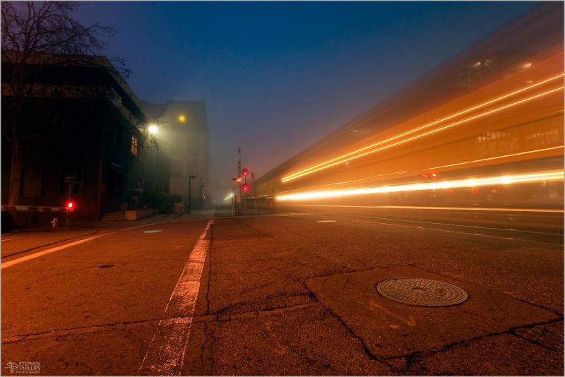 Freight train crossing in Oakland, California