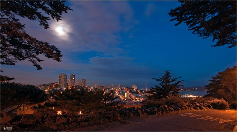 Moonset over Russian Hill San Francisco