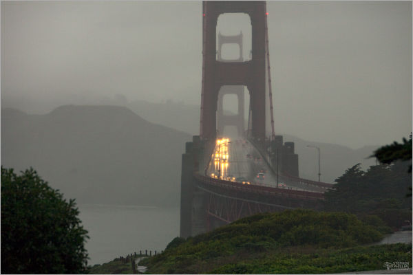 drenching rain on The Golden Gate Bridge