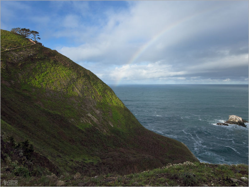 Rainbow at Devil's Slide on the California coast