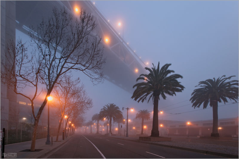Fog along The Embarcadero in San Francisco