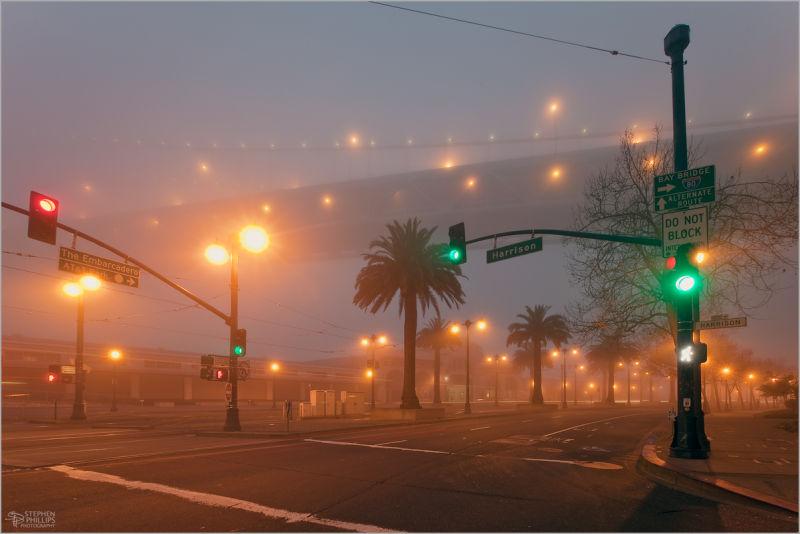 Fog beneath The Bay Bridge in San Francisco