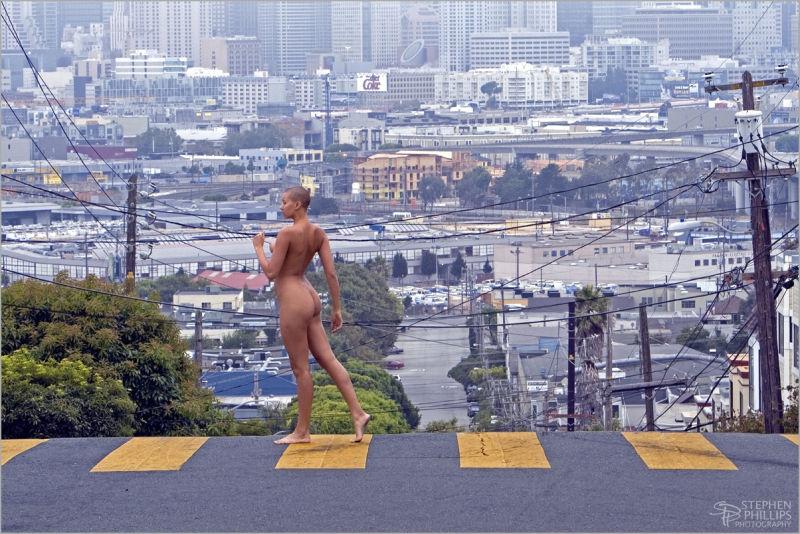 Kat nude in a crosswalk in San Francisco