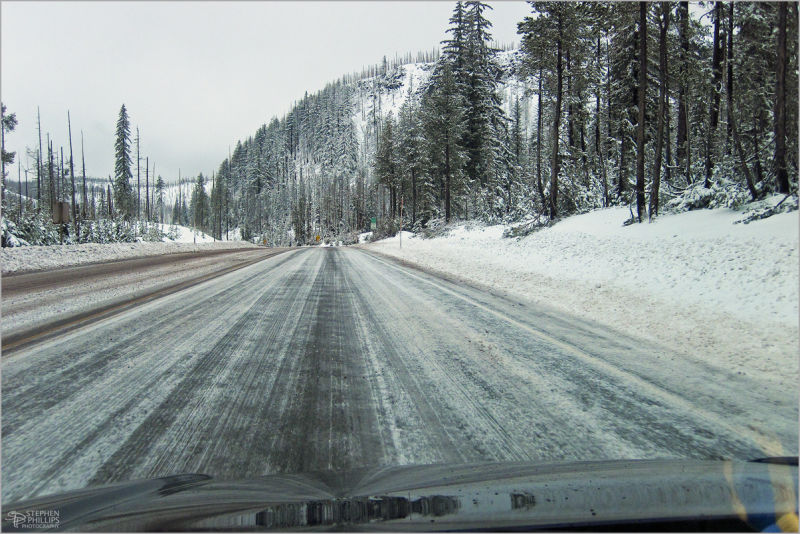 Icy Highway 20 in the Cascade Mountains
