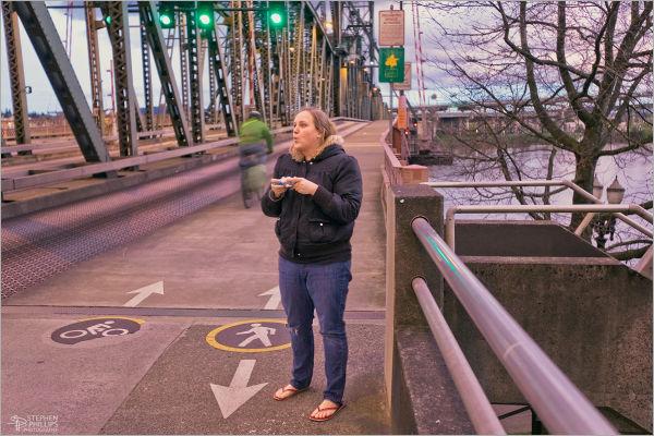 Rebekah on Hawthorne Bridge Portland Oregon