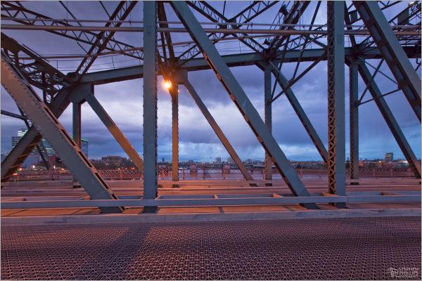 hawthorne bridge portland, Oregon rain twilight