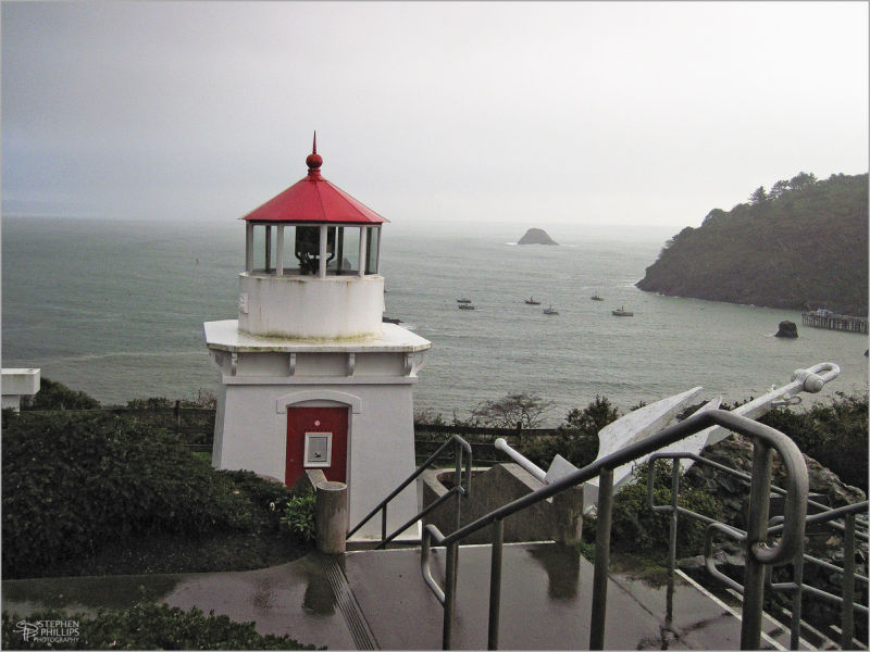 rain at Trinidad lighthouse, California