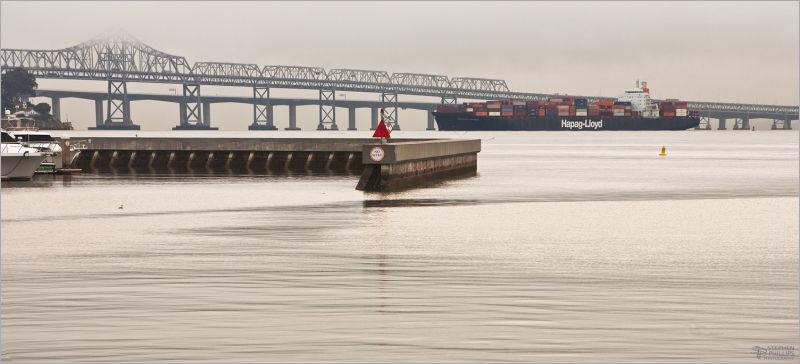ship heading outbound for sea san francisco bay