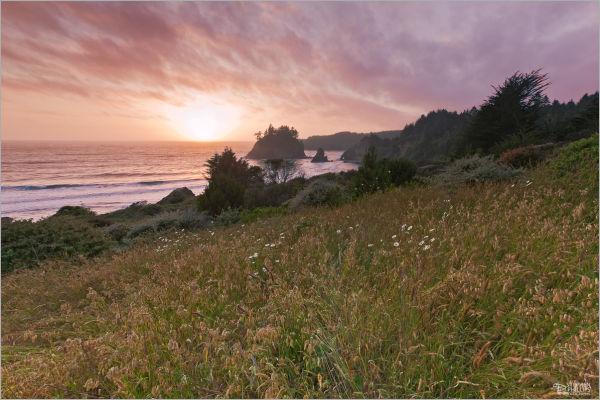 sunset above Trinidad Head, California