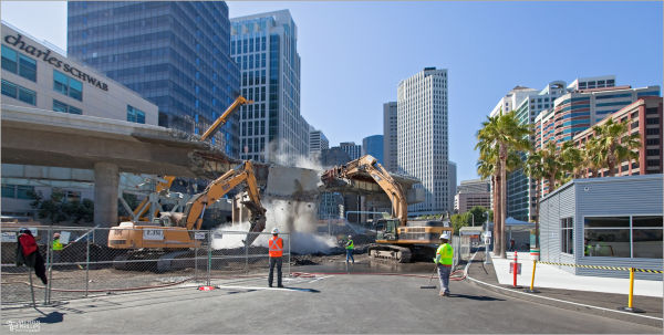 Demolition of bus ramp in San Francisco