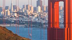 San Francisco skyline through the Golden Gate Br