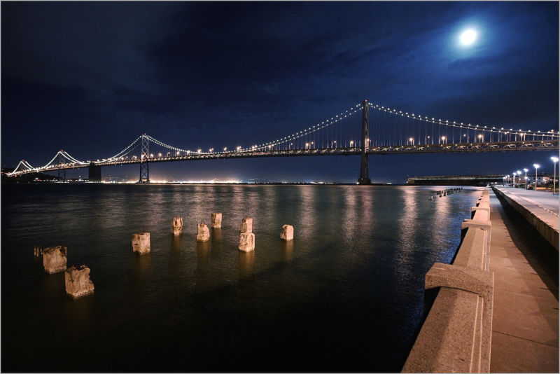 Moon above the Bay Bridge in San Francisco