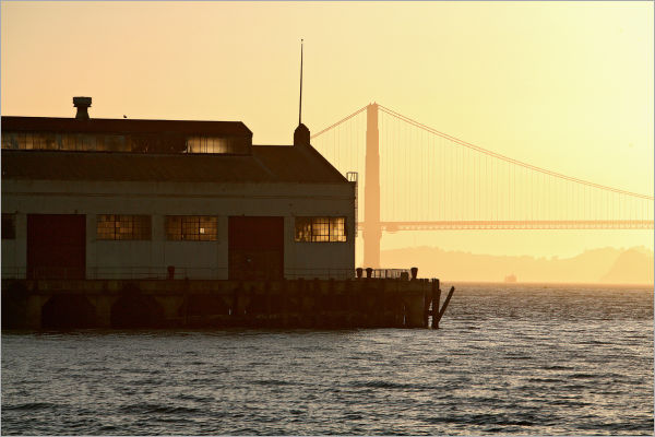 gold through the windows off the Golden Gate