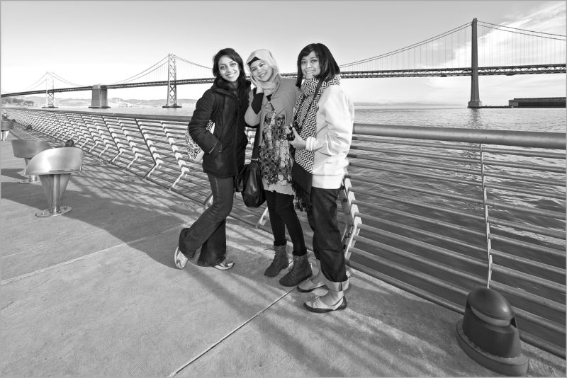 Three Indonesian women at Pier 14 in San Francisco