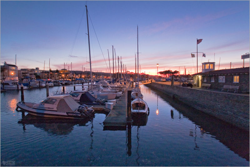 twilight at the san francisco yacht harbor