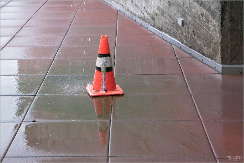 orange cone getting wet