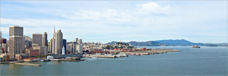 the San Francisco skyline and waterfront
