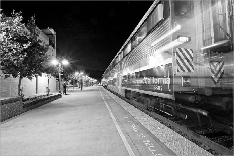 Amtrak train departing Martinez, California