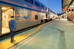 Amtrak train boarding in Martinez, California