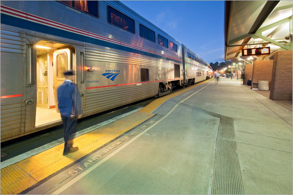 Amtrak train boarding in Martinez, California