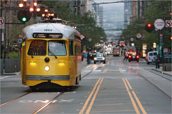 """F"" Line historic trolley in San Francisco"