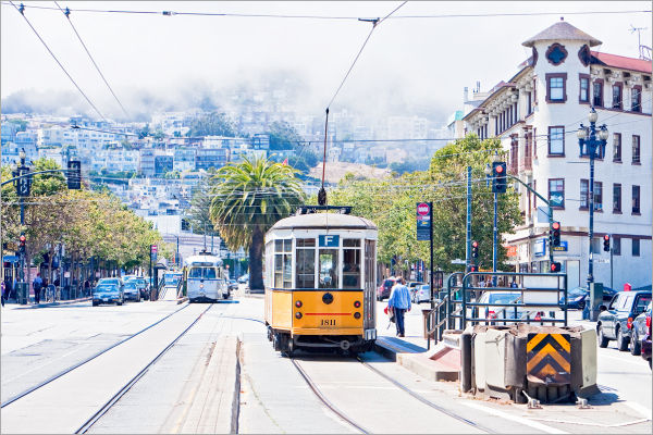 Trolleys on Market Street in San Francisco