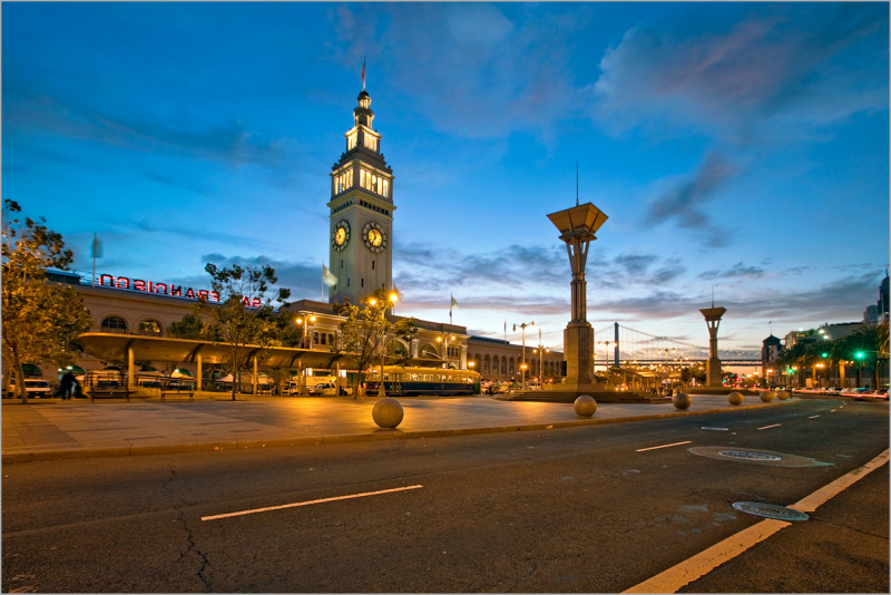 Sunrise at the Ferry Building in San Francisco