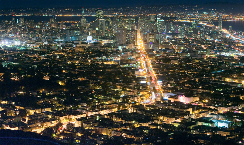 San Francisco at Night as seen from Twin Peaks