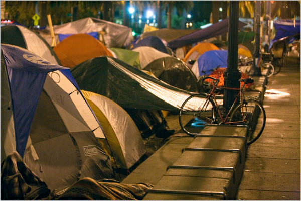 Occupy San Francisco at night