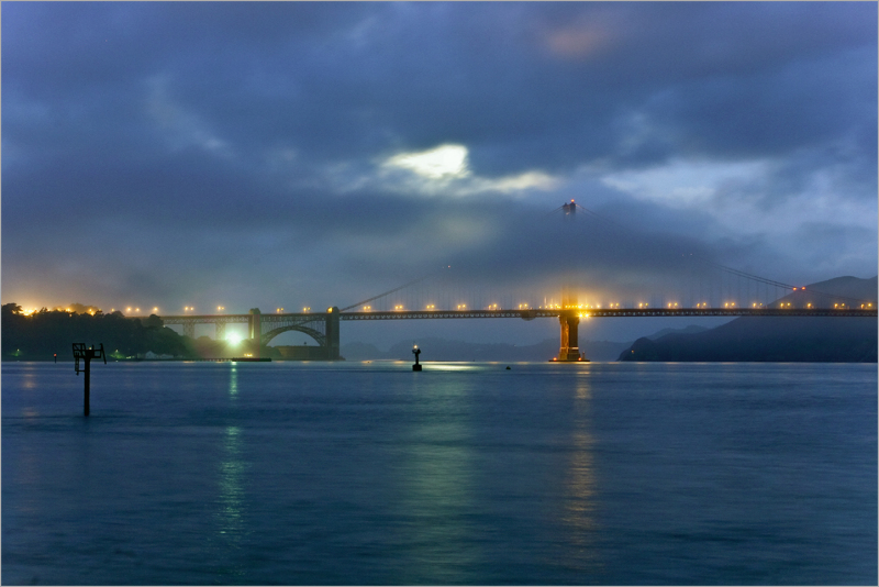 Moon through The Golden Gate
