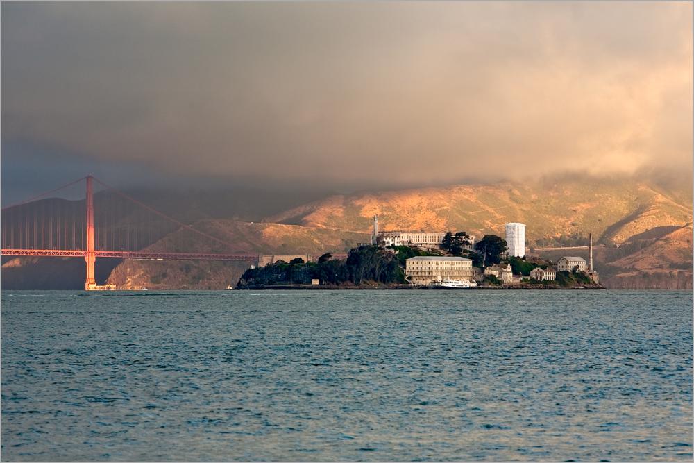 Sunrise on Alcatraz and The Golden Gate