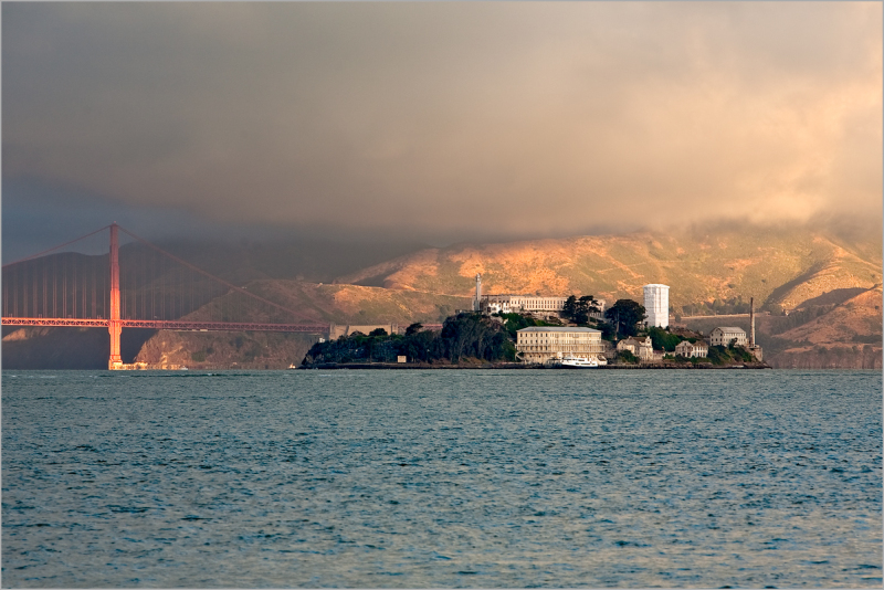Sunrise on Alcatraz and The Golden Gate