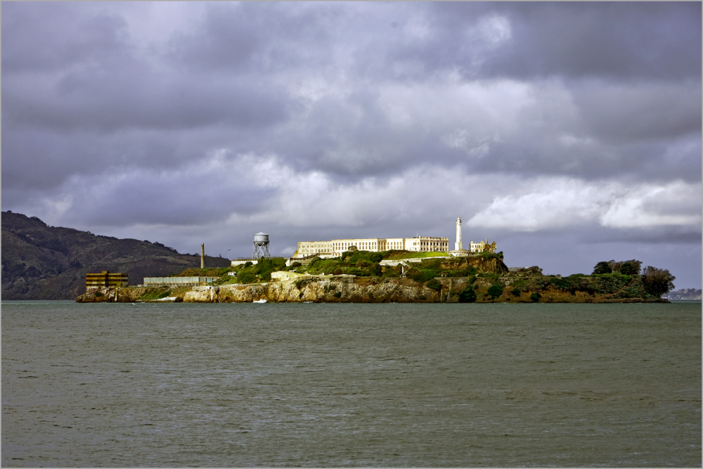 Alcatraz on a cloudy day