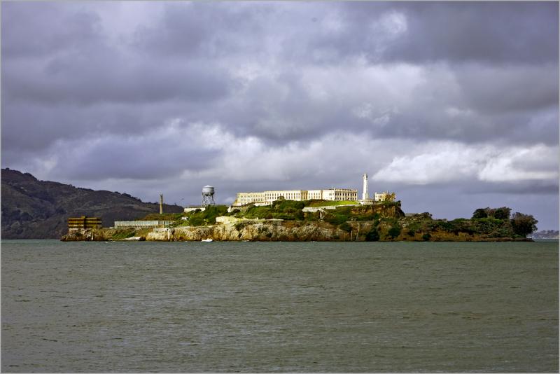 Alcatraz on a cloudy day