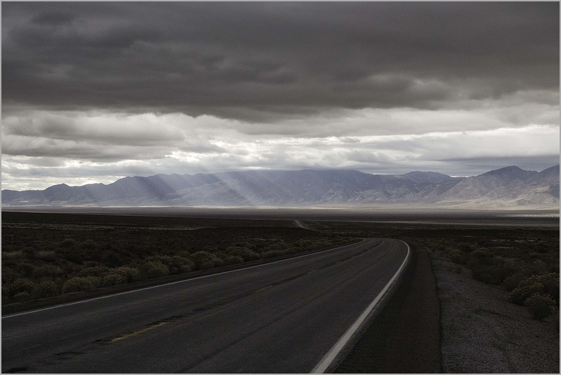 Sunbeams across high desert Nevada