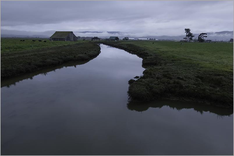 Daybreak gray morning at a dairy farm