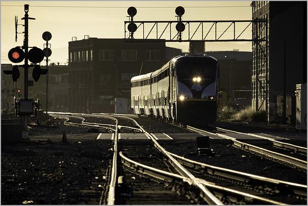 Amtrak Capitol Corridor train in Oakland, CA