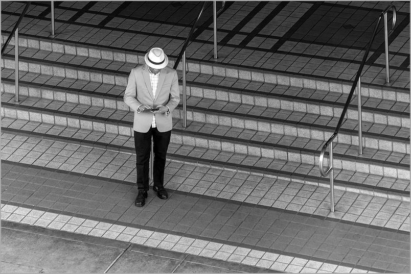 Solitary man at Jack London Square