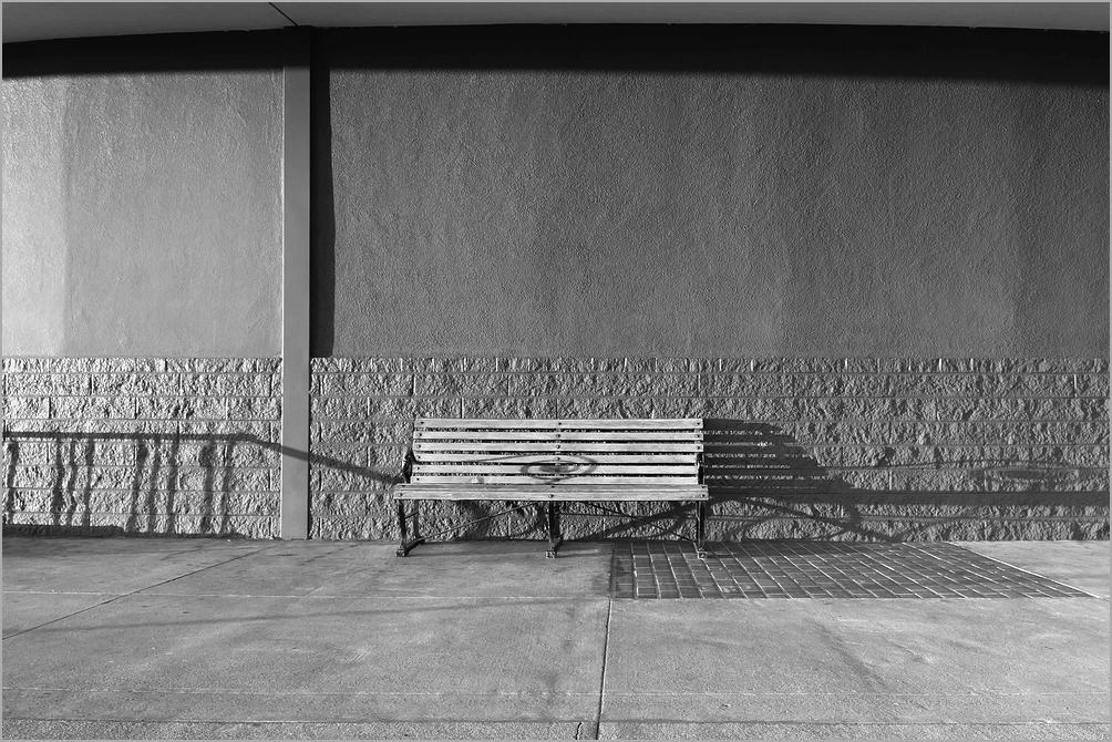 An empty bench at Golden Gate Fields Racetrack