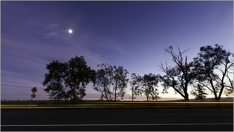 Dusk and Moon along Yolo County Road 29