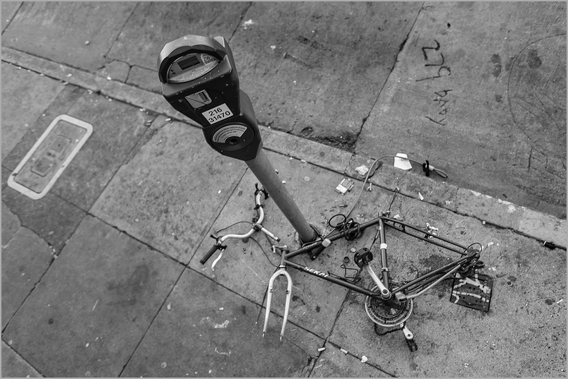 Bicycle stripped in San Francisco