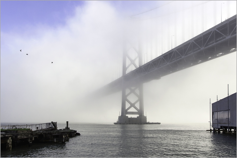 San Francisco Oakland Bay Bridge out of dense fog