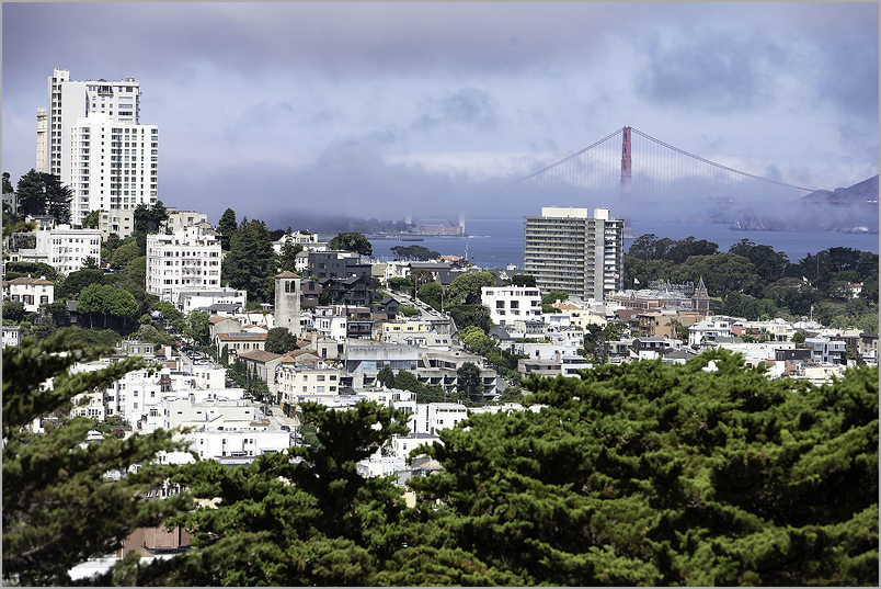 Russian Hill Morning and The Golden gate