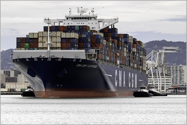 Container Ship Departing for Sea