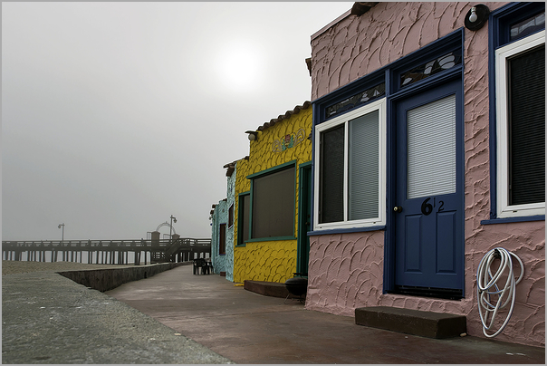Capitola Cottages on a Very Foggy Morning