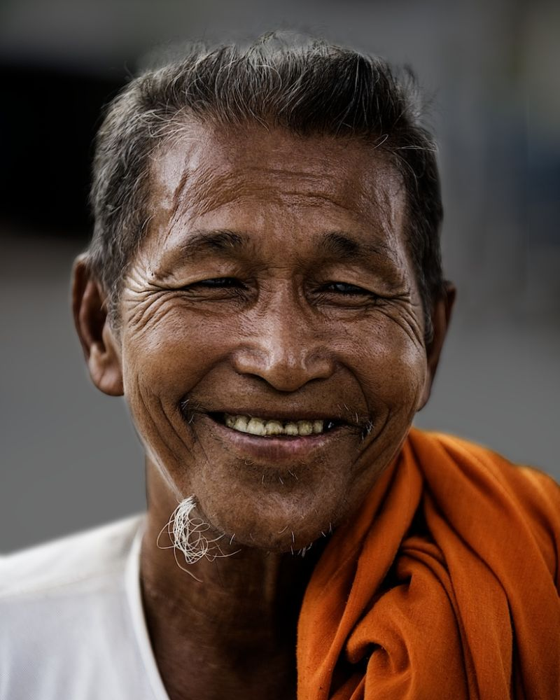 Happy monk in Cambodia