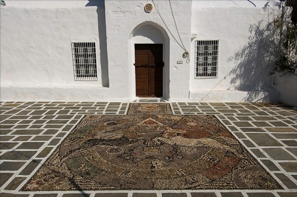 Mosaic in a church Adamantas milos island greece