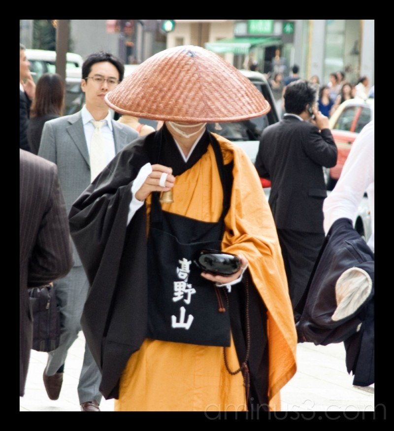 Buddhist monk in Ginza, Japan