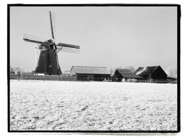 Warkense Windmill in winterlandscape