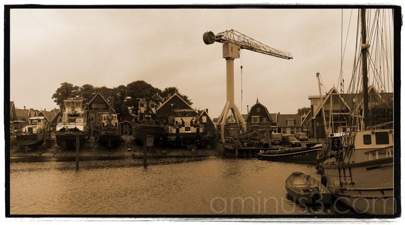 Urk Cityscape wharf docks